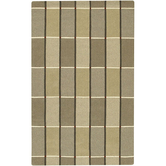 Hand-crafted Brown Contemporary Mesa Wool Geometric Rug (8' x 11')