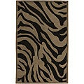 Hand-tufted Contemporary Brown Zebra Current New Zealand Wool Rug (8' x 11')