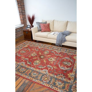 Hand-tufted Coliseum Rust Traditional Border Wool Rug (9' x 12')