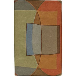 Hand-tufted Multi Colored Contemporary Callio New Zealand Wool Abstract Rug (5' x 8')