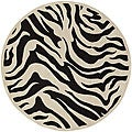 Hand-tufted Black/White Zebra Animal Print New Zealand Wool Rug (7'9 Round)