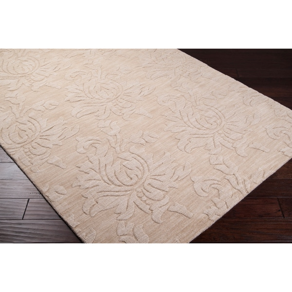 Hand-crafted Solid Ivory Damask Mesa Wool Rug (8' x 11')