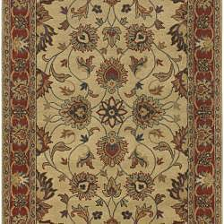Hand-tufted Coliseum Beige/Red Traditional Border Wool Rug (9' x 12')