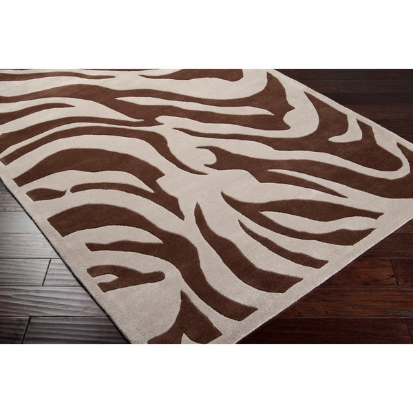 Hand-tufted Brown/White Zebra Animal Print Current Wool