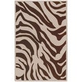 Hand-tufted Brown/White Zebra Animal Print Current Wool Rug (5' x 8')