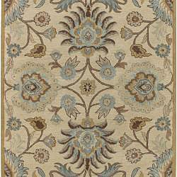 Hand-tufted Coliseum Beige Floral Wool Rug (9' x 12')