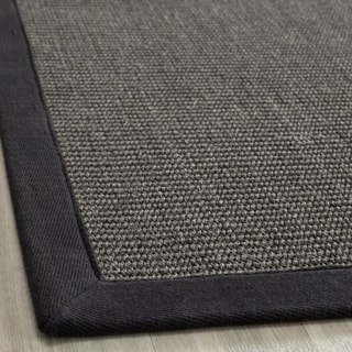 Hand-woven Natural Fiber Serenity Charcoal Sisal Rug (4' x 6')