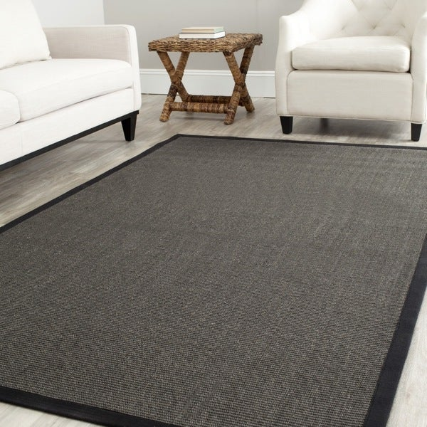 Safavieh Casual Natural Fiber Charcoal and Charcoal Border Sisal Rug (4' x 6')