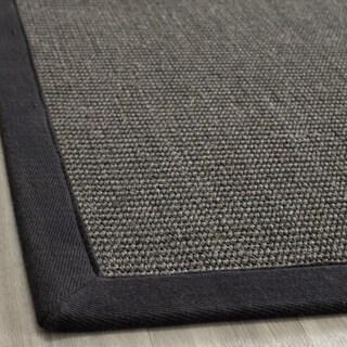 Hand-woven Natural Fiber Serenity Charcoal Sisal Rug (6' x 9')