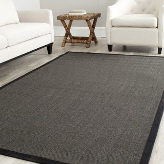 Safavieh Casual Natural Fiber Charcoal and Charcoal Border Sisal Rug (9' x 12')