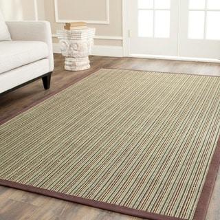 Hand-woven Stripes Multicolor/ Purple Fine Sisal Rug (8' x 10')