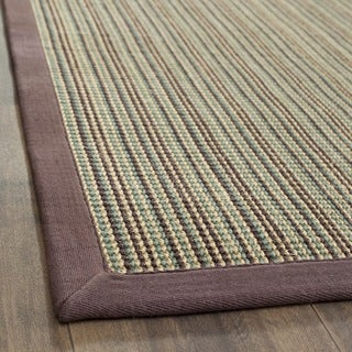Hand-woven Stripes Multicolor/ Purple Fine Sisal Rug (8' x 10')