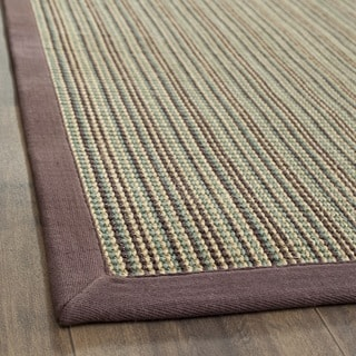 Hand-woven Stripes Multicolor/ Purple Fine Sisal Rug (9' x 12')