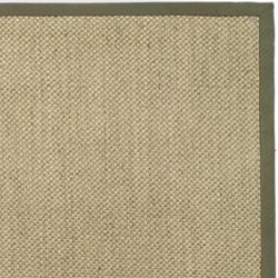 Hand-woven Resorts Natural/ Green Tiger Weave Sisal Rug (4' x 6')