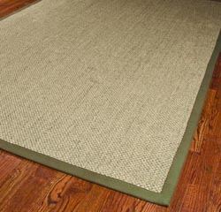 Hand-woven Resorts Natural/ Green Tiger Weave Sisal Rug (6' x 9')