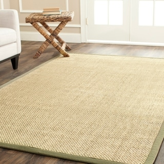 Safavieh Hand-woven Resorts Natural/ Green Tiger Weave Sisal Rug (6' x 9')