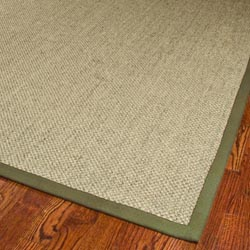 Hand-woven Resorts Natural/ Green Tiger Weave Sisal Rug (8' x 10')
