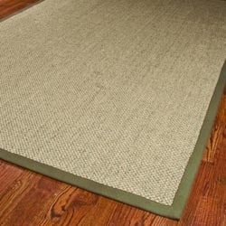 Hand-woven Resorts Natural/ Green Tiger Weave Sisal Rug (9' x 12')