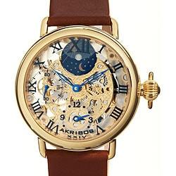 Akribos Men's XXIV Dual Time Mechanical Strap Watch