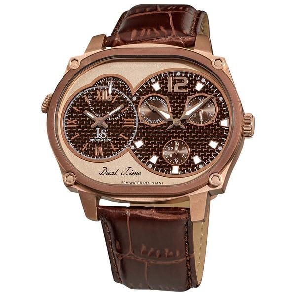 Joshua & Sons Men's Dual-time Multi-function Brown Watch