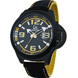 Joshua & Sons Men's 'Daredevil' Quartz Black/ Yellow Racer Watch