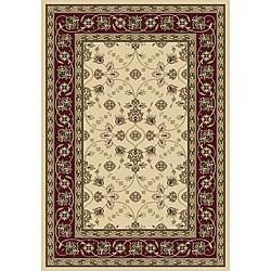Anoosha Isfahan Ivory/ Red Rug (5'3 x 7'7)