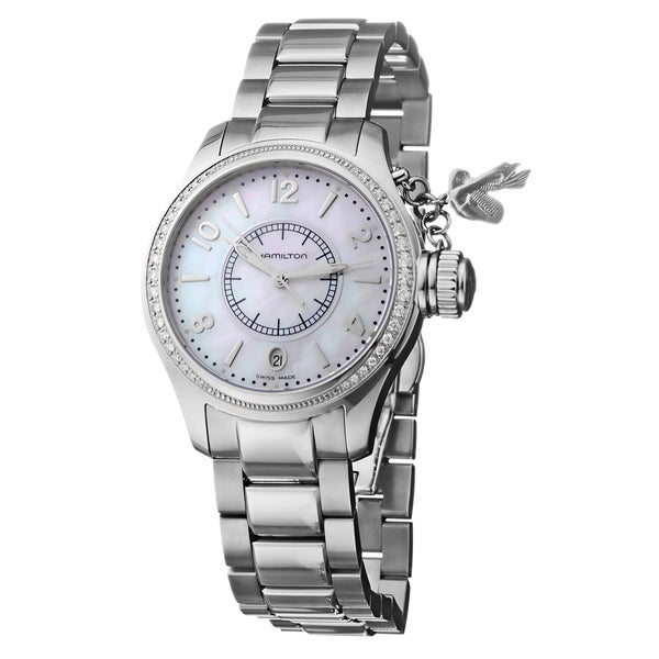 Hamilton Women's Navy Seaqueen Steel Diamond White Face Watch