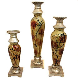 Contempo Glass Polyresin Decorative Candle Holders (Set of 3)