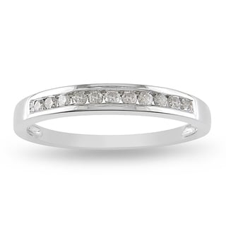 Miadora 10k White Gold 1/4ct TDW Diamond Channel Wedding Band (J-K, I2-I3)