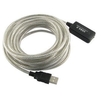 Active USB 2.0 Type A to A 16-foot Translucent Extension Cable