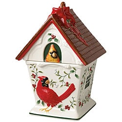 Pfaltzgraff Winterberry Cardinal Birdhouse Cookie Jar