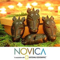 Set of Four Wooden 'Black Zebras' Ornaments (Indonesia)