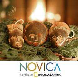 Set of Three Wooden 'Wise Men' Ornaments (Ghana)