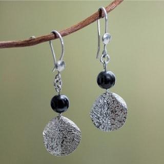 Sterling Silver 'Shimmer' Hematite Earrings (Peru)