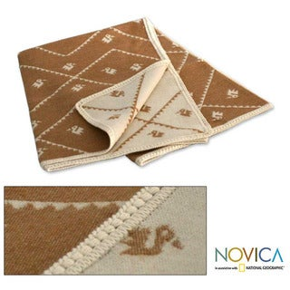 'Inca Duck Tan' Alpaca Wool Throw Blanket (Peru)