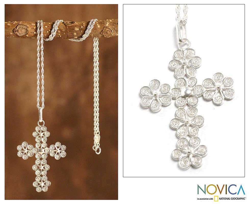 Sterling Silver 'Filigree Flowers' Cross Necklace (Peru)
