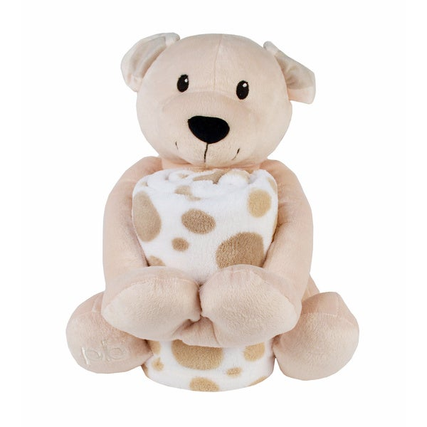 Piccolo Bambino Coral Blanket with Big Toy Beige Bear