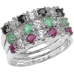 Malaika Sterling Silver Emerald, Ruby and Sapphire 3-ring Set