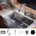 Kraus Kitchen Combo Set Stainless Steel 33 -inch Farmhouse Sink with Faucet