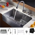 Kraus Stainless Steel Farmhouse Kitchen Sink/ Faucet/ Dispenser