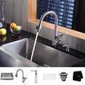 Kraus Stainless Steel Farmhouse Kitchen Sink, Faucet and Dispenser