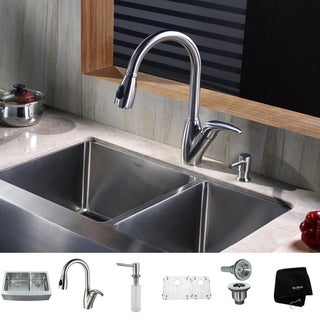 Kraus Kitchen Combo Kitchen Steel Farmhouse Sink with Faucet