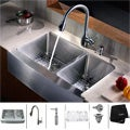 Kraus Stainless-Steel Farmhouse Kitchen Sink/Swan-Neck Faucet/Dispenser