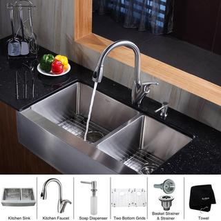 Kraus Kitchen Combo Set Stainless Steel Farmhouse Sat-in Sink with Faucet