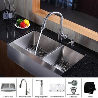 Kraus Scratch-Resistant Stainless Steel Farmhouse Kitchen Sink, Faucet and Dispenser
