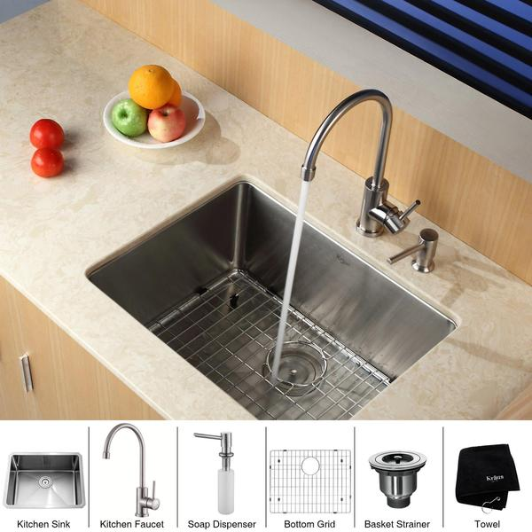 Kraus Kitchen Combo Set Stainless Steel 23 -inch Undermount Sink /Faucet