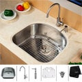 Kraus Single-Drain Stainless-Steel Undermount Kitchen Sink, Faucet and Dispenser