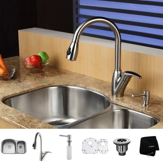 Kraus Stainless-Steel Undermount Kitchen Sink with Mounting Brackets, Faucet and Dispenser
