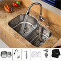 Kraus Stainless-Steel Undermount Kitchen Sink with Grids, Faucet and Dispenser