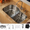 Kraus Stainless-Steel Undermount Kitchen Sink, Single-Handle Faucet and Dispenser